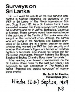 Letter to The Hindu on IPKF Sri Lanka by Sachi Sri Kantha Sept 23 1989