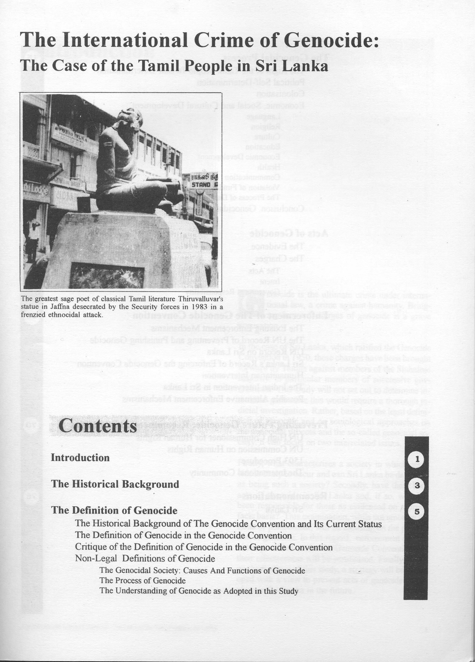 TIC Genocide of Tamils contents