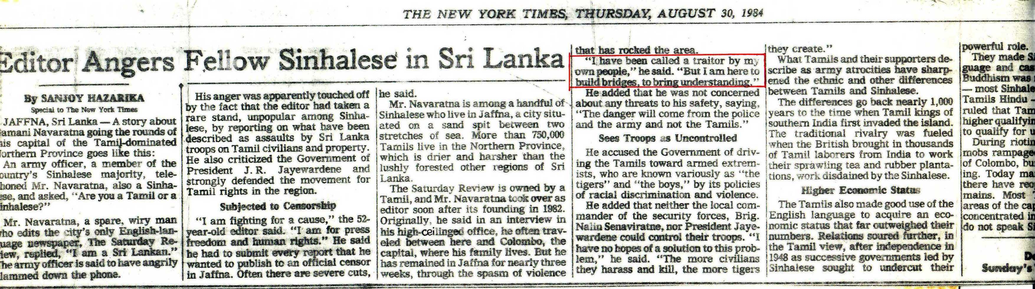 Gamini Navaratne covered in NY Times 1984 Aug 30