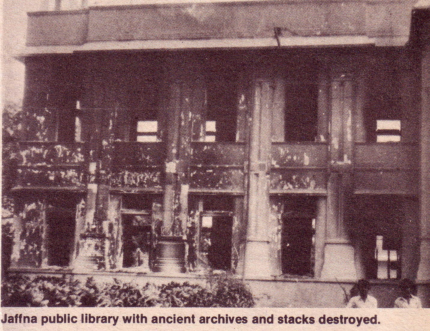 Jaffna Public Library gutted June 1981
