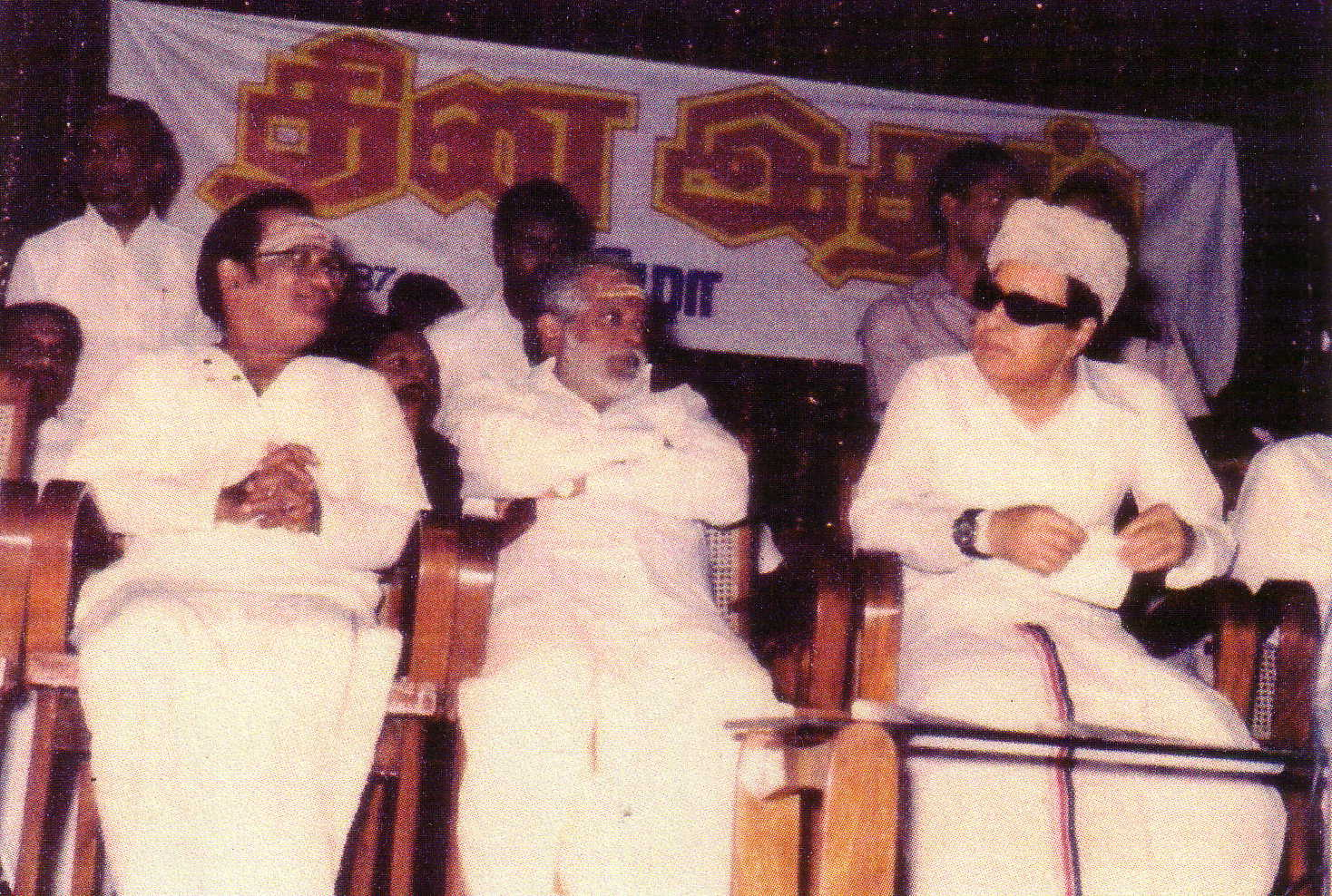 T.M. Soundararajan on left with MGR on right