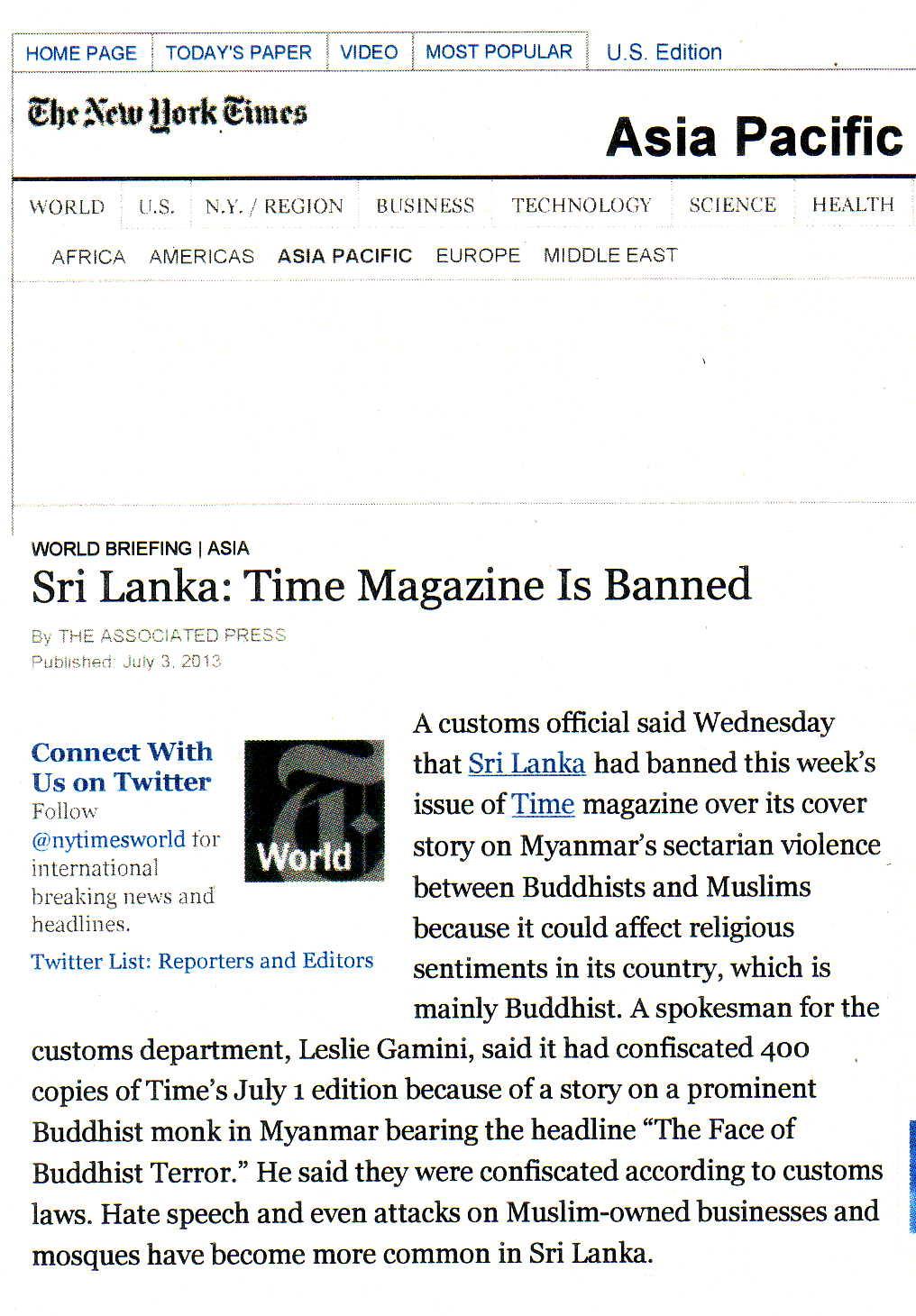 Associated Press report July 3 2013