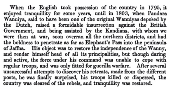Pandara Vanniyan defeated 1803 Pridham account