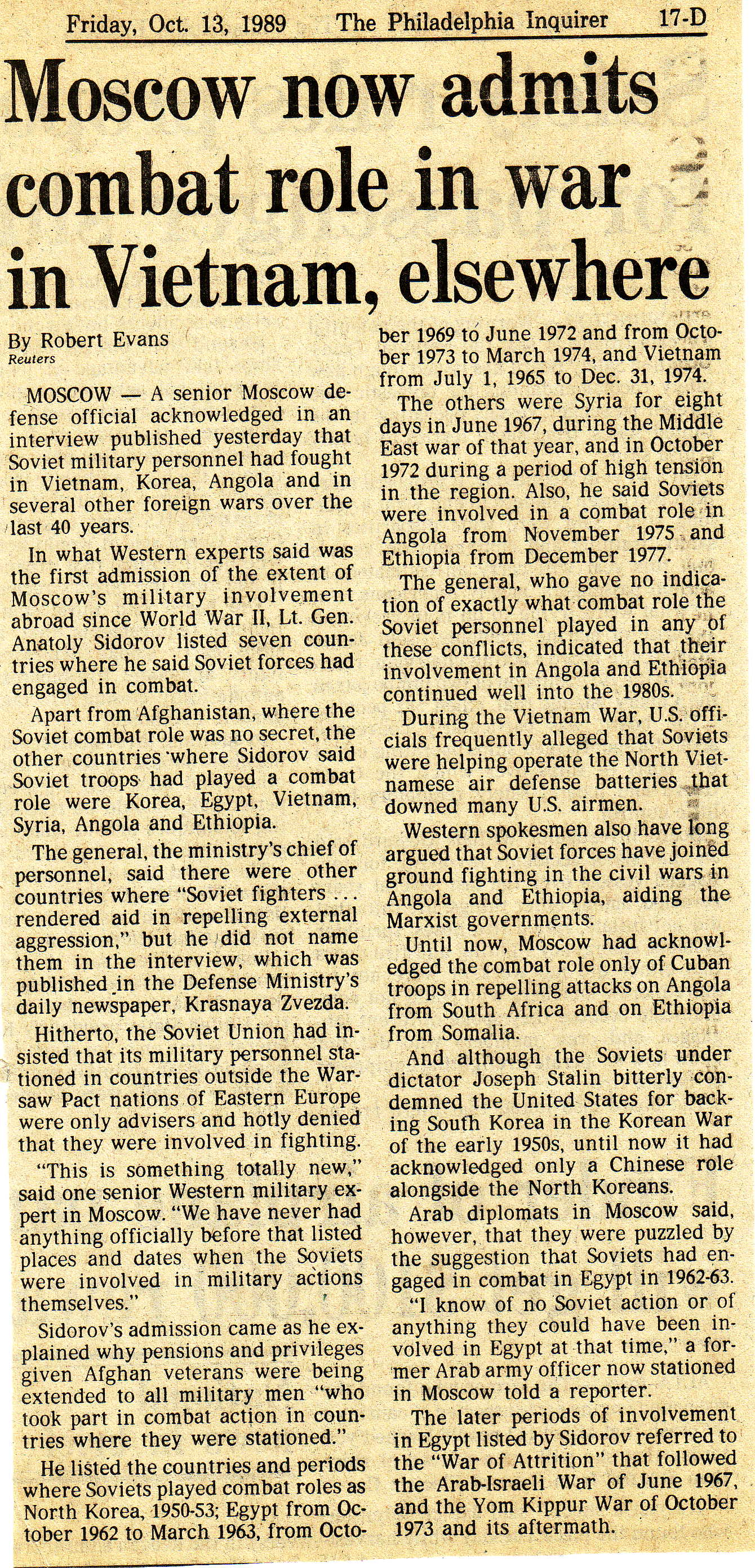 Philadelphia Inquirer Oct 13 1989 [Soviet support   for Vietnamese]