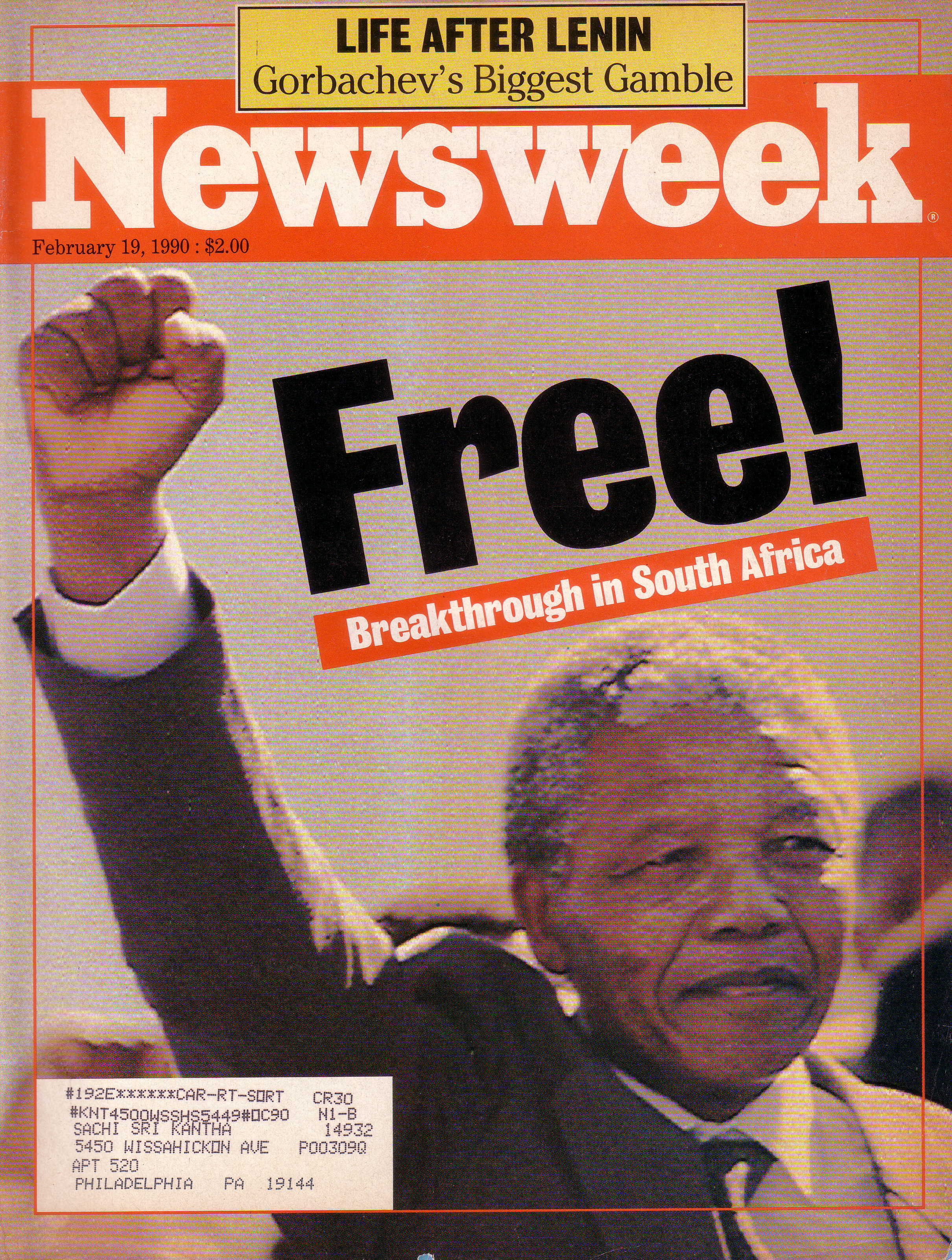 Mandela cover NEWSWEEK Feb 19 1990