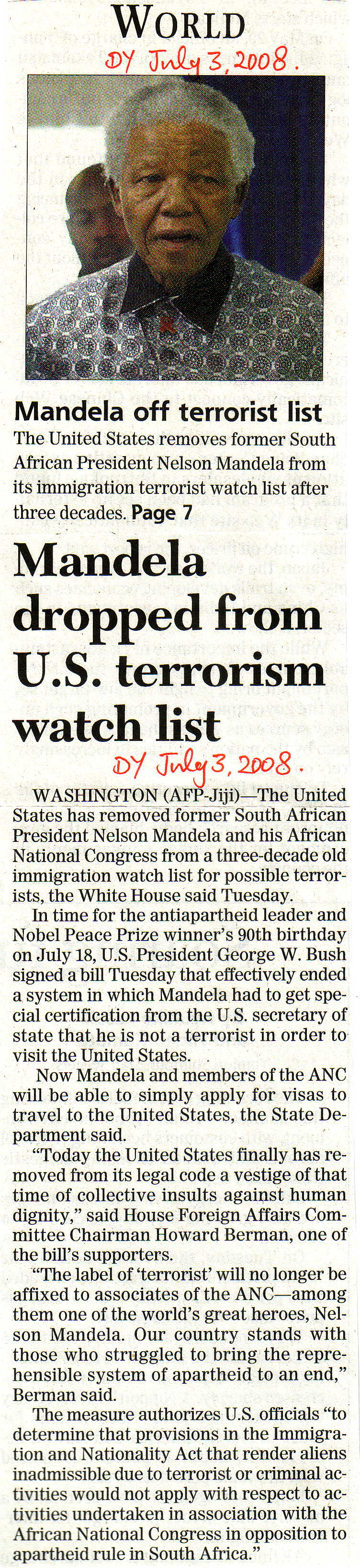 Mandela out of T list 2008