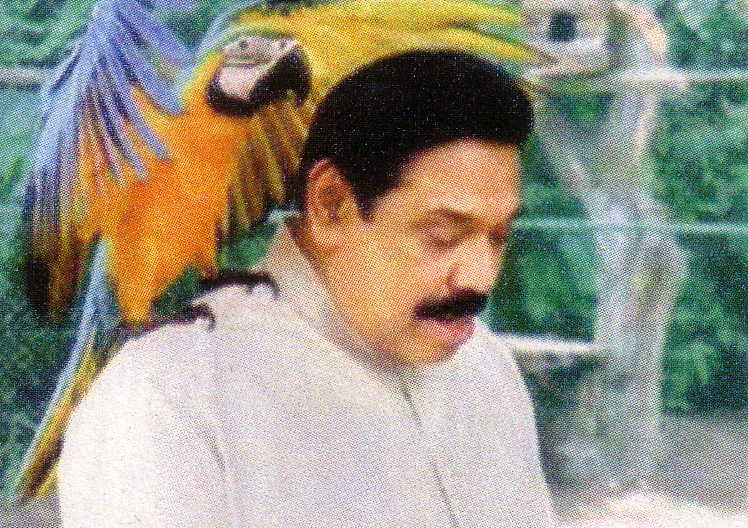 President Rajapaksa and his perched Macaw
