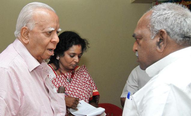 Tamil National Alliance leader R. Sambanthan shares a word with Union Minister Pon. Radhakrishnan in Chennai on Wednesday. BJP State president Tamilisai Soundararajan is in the piccture. Photo: B.Jothi Ramalingam