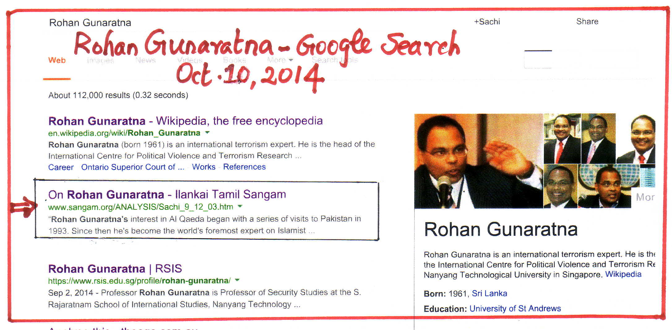 Rohan Gunaratna Google Search Oct 10 2014