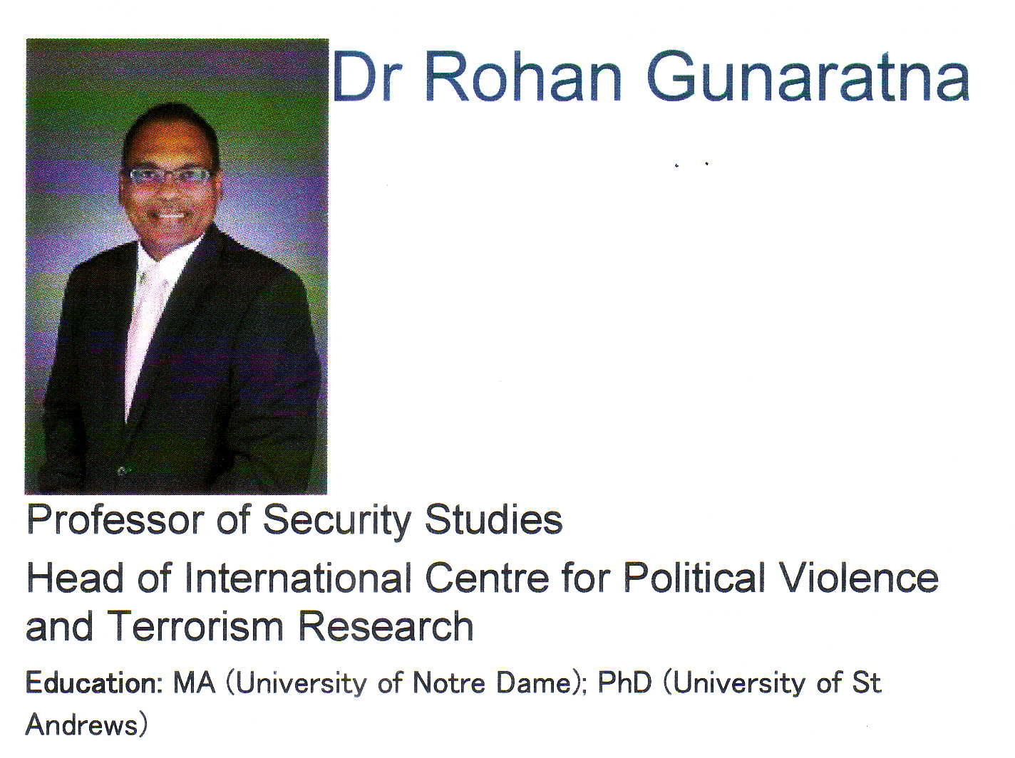 Rohan Gunaratna profile at Nanyang Technology University