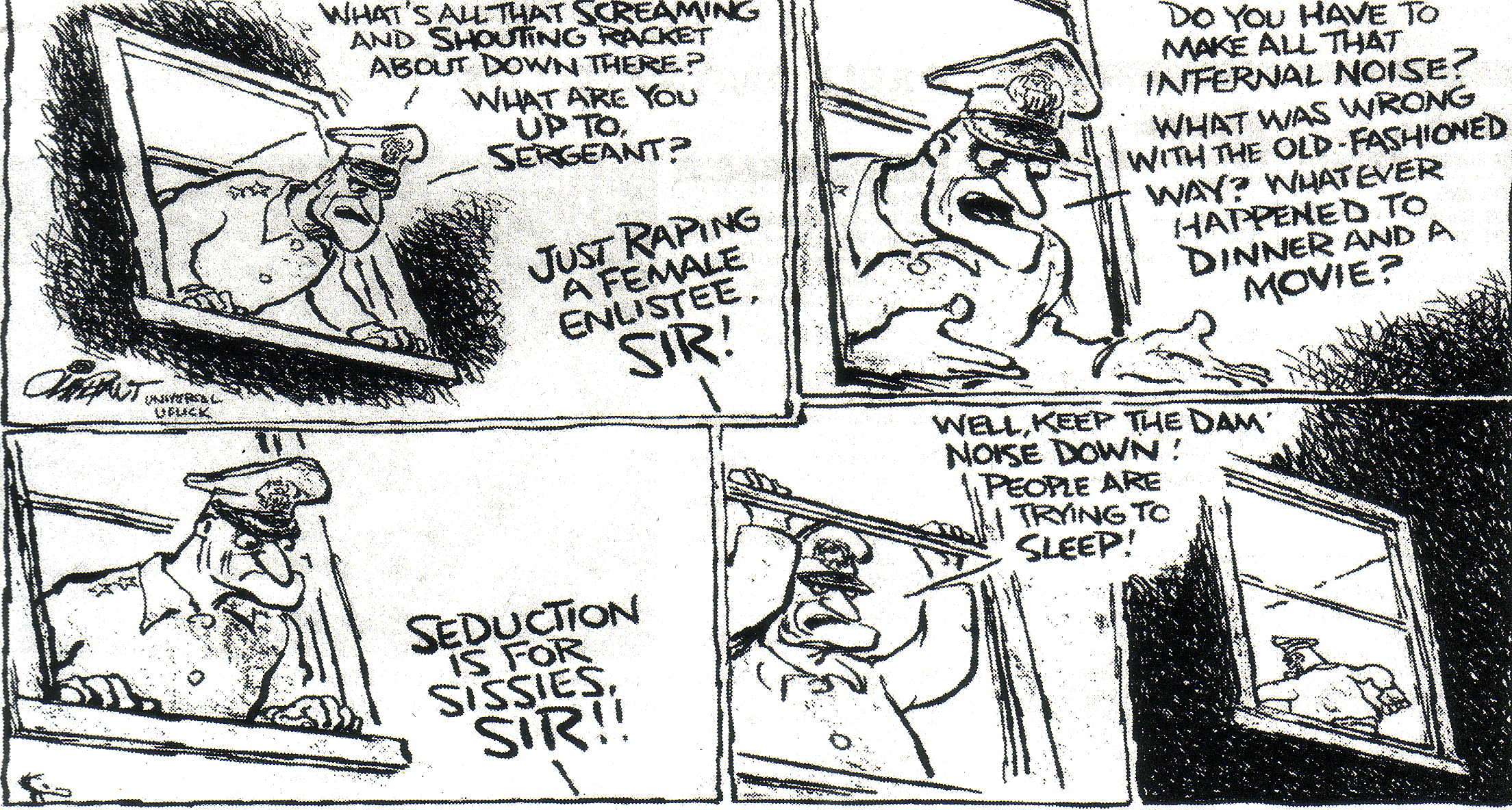 Pat Oliphant cartoon on sexual violence in US military