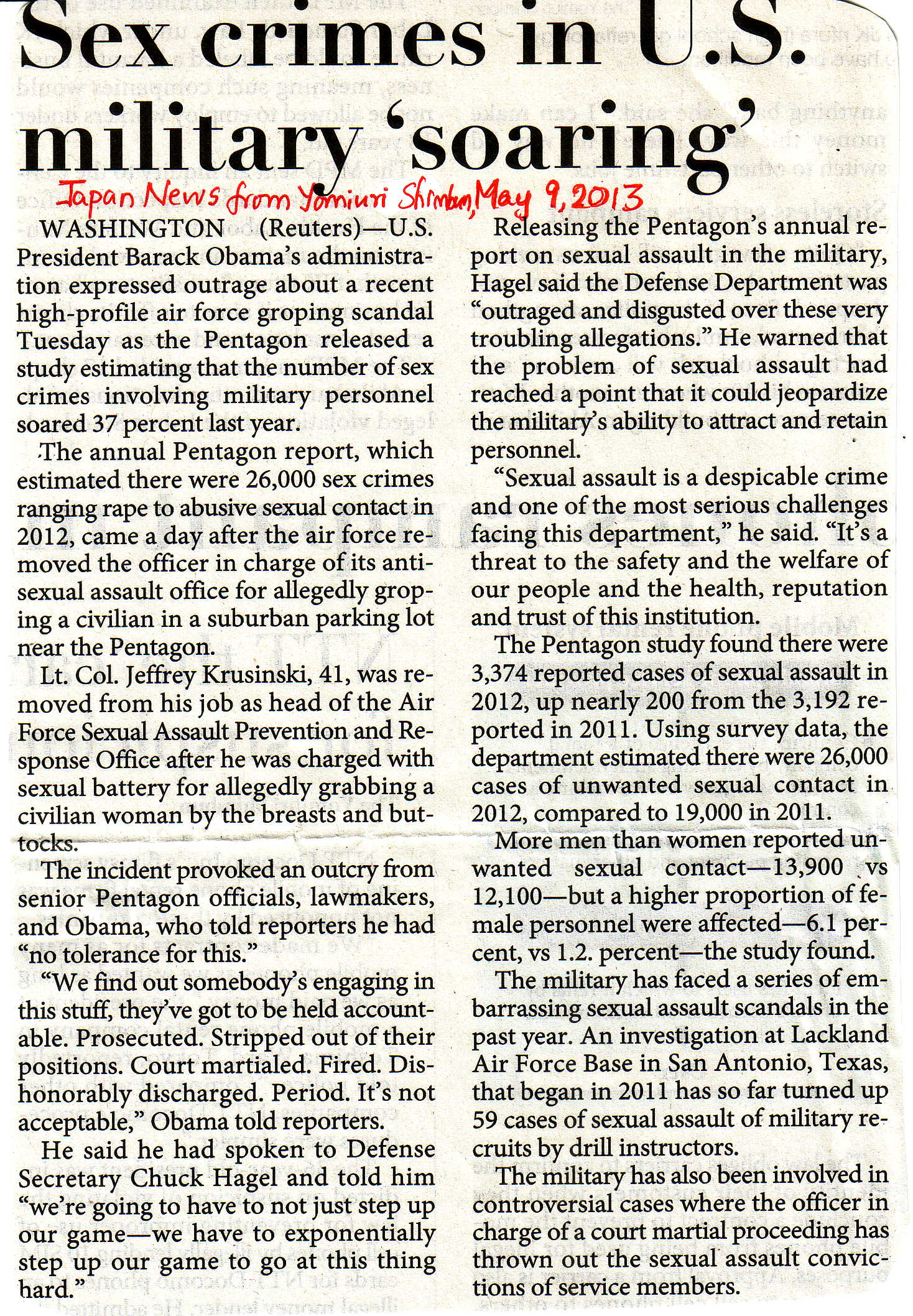 Sex crimes in US military 'soaring' May 9 2013
