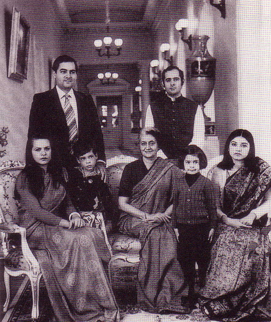 Indira with her sons, daughters in law and 2 grandchildren