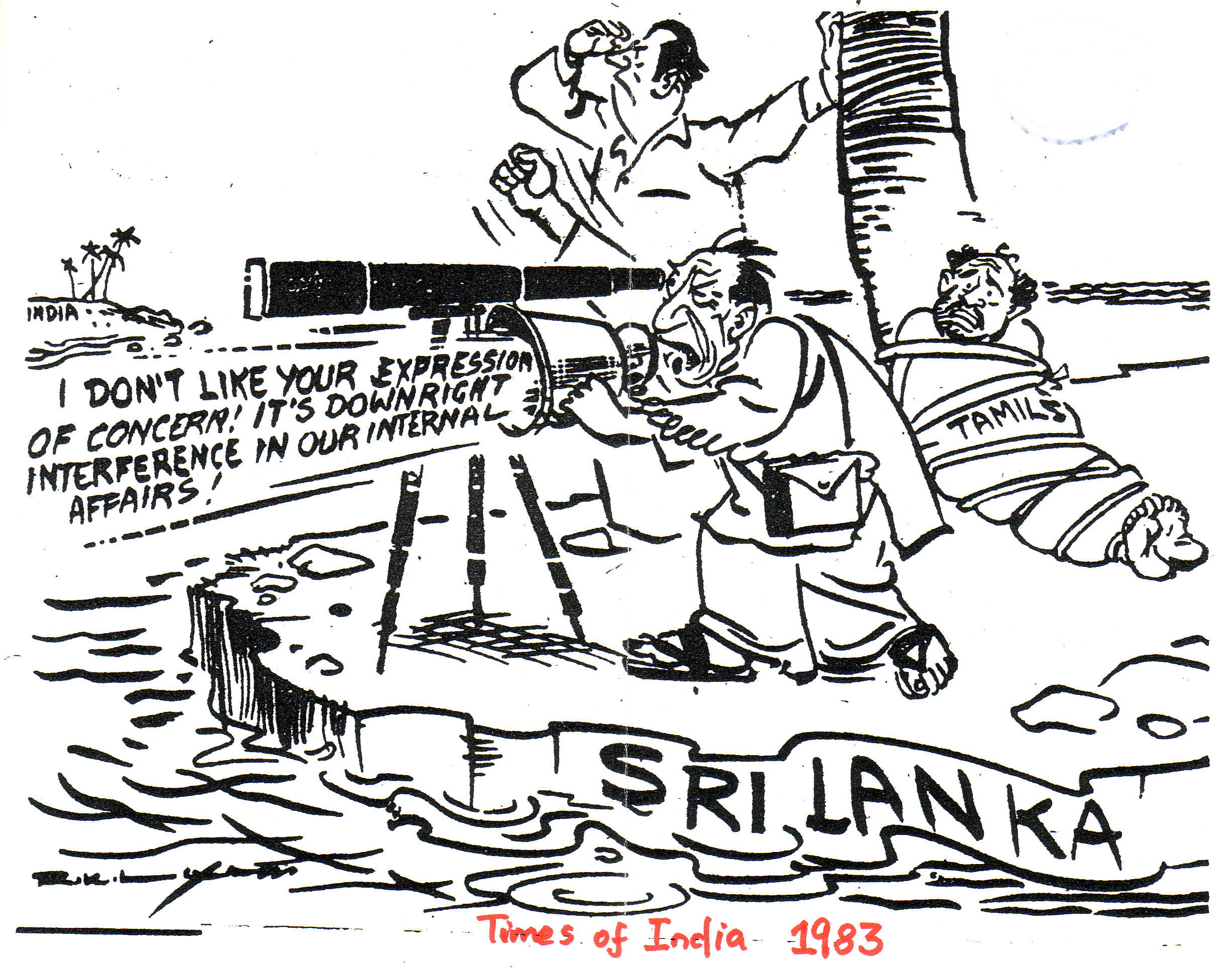 RK Laxman cartoon 1983 Times of India Sri Lanka