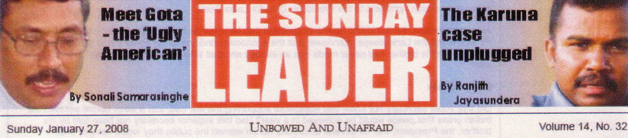 Sunday Leader Jan 27 2008