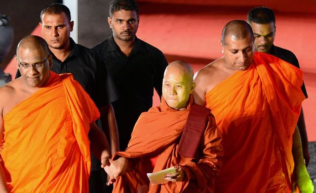 Myanmar monk Shin Wirathu arrives with Gnanasara Thero for the Bodu Bala Sena (BBS) or Buddhist Force convention in Colombo on September 28, 2014