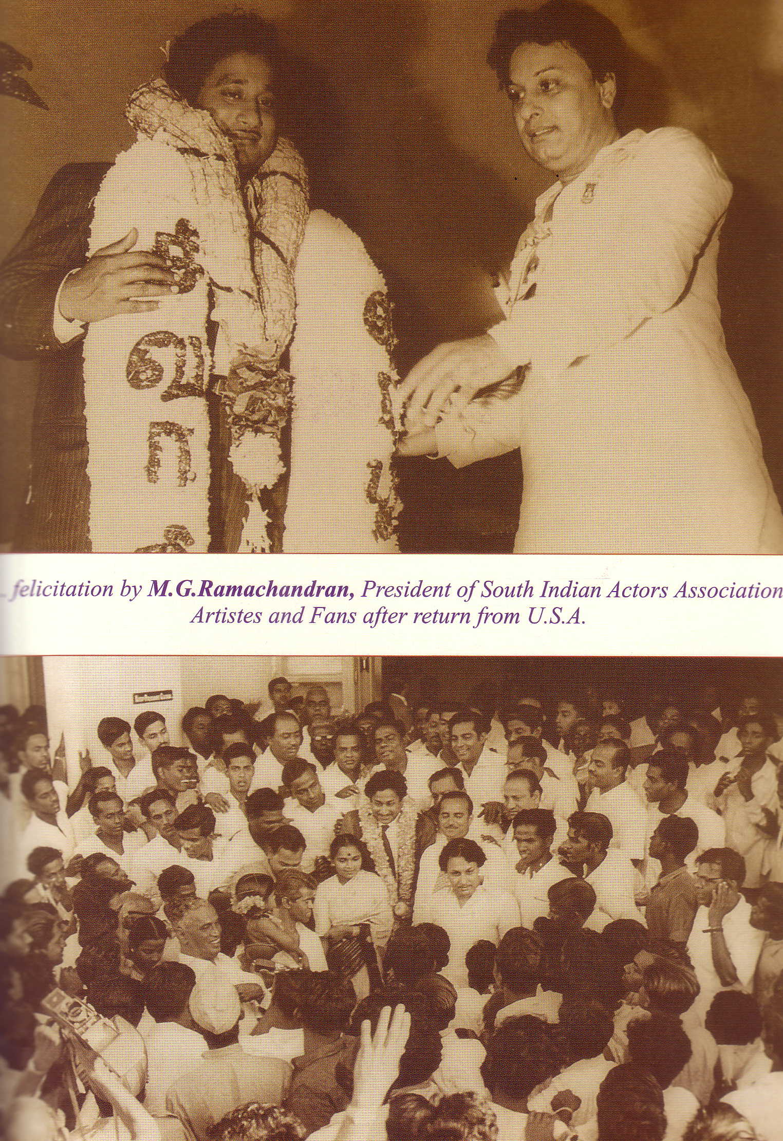 Sivaji Ganesan felicited by MGR in 1962