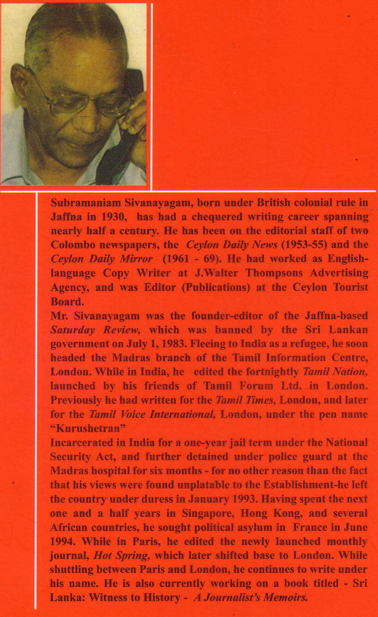Sivanayagam profile - Back cover of his book 'The Pen and the Gun'