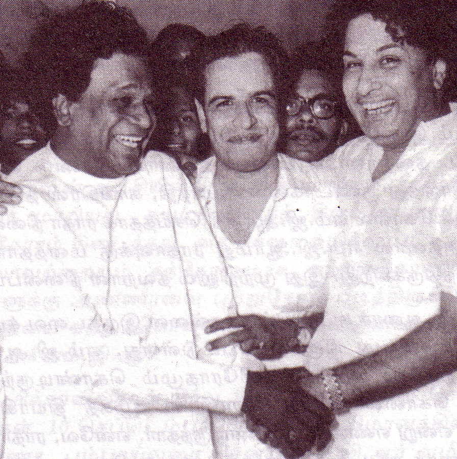 M.R. Radha (lt) and MGR (rt) at a social function (pre-1967)