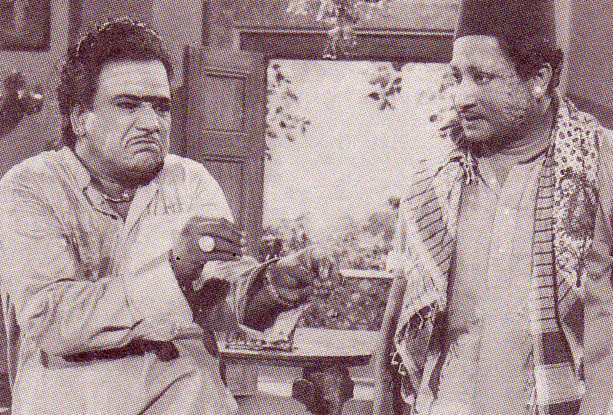 M.R. Radha (lt) and Sivaji Ganesan (rt) in 'Pavamannippu' movie
