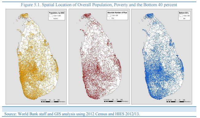 World Bank Sri Lanka spatial location of poverty overall population and bottom 40 percent % 2015