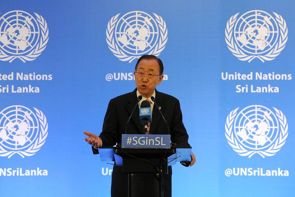 U.N. Secretary-General Ban Ki-moon speaks in Colombo, Sri Lanka, on Friday.