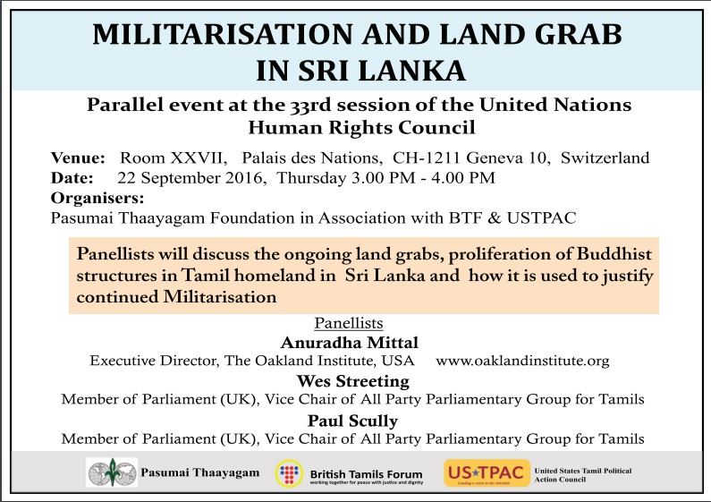 Militarization Land Grab side event UNHRC