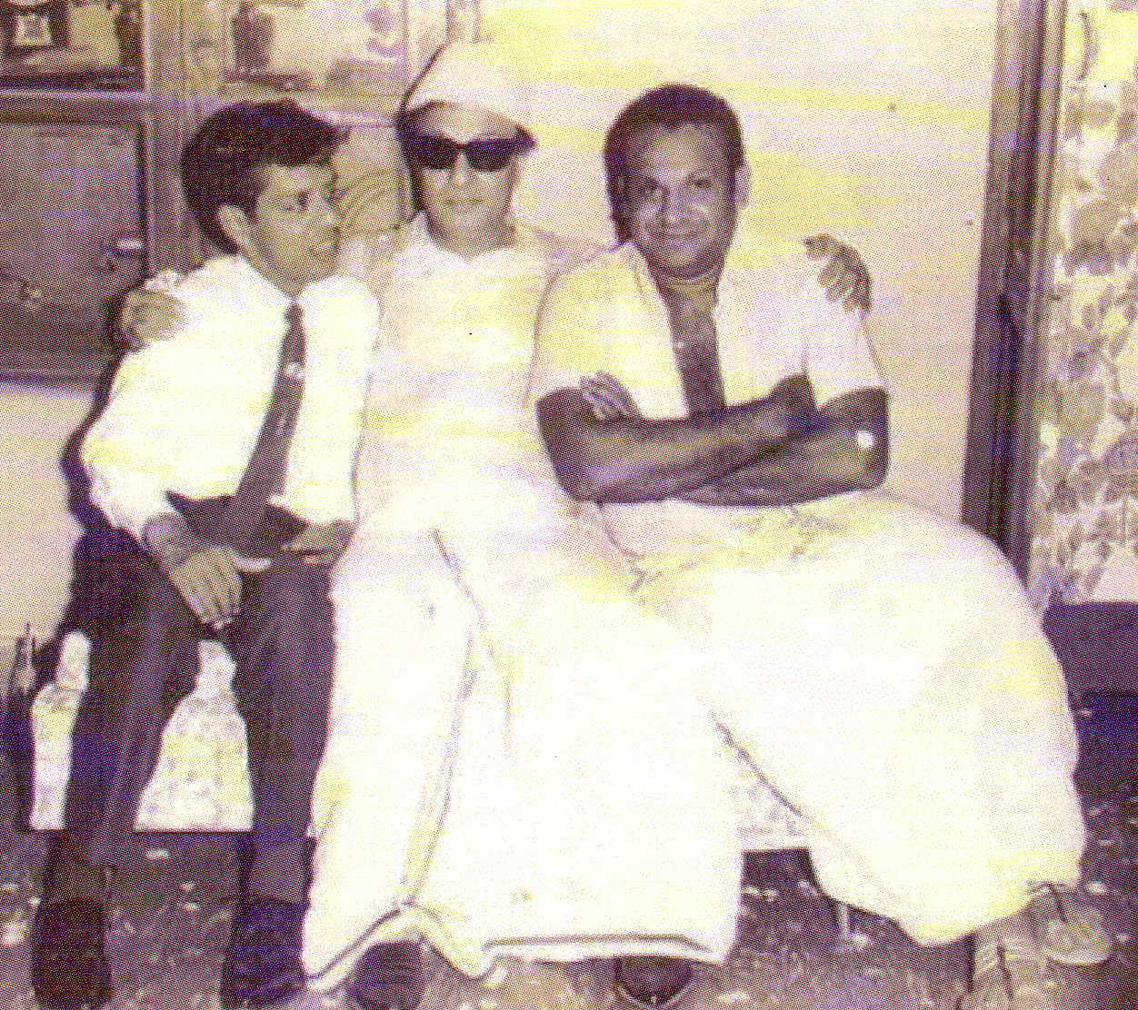 MGR with comedian C.K.Nagesh (to his right) and actor S.A. Asokan (to his left)