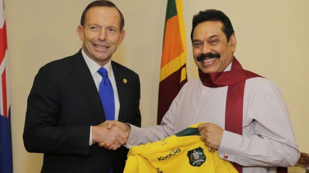 Tony Abbott with then president Mahinda Rajapaksa during a 2013 visit to Sri Lanka.