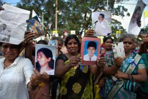 Families from the Disappeared Persons' organization protest January 14, 2015 in Mannar, Sri Lanka during the visit of Pope Francis. This was the area of Sri Lanka that saw the worst of the war between the country's soldiers and ethnic Thousands of families are still demanding answers about those who went missing near the war's end in 2009.