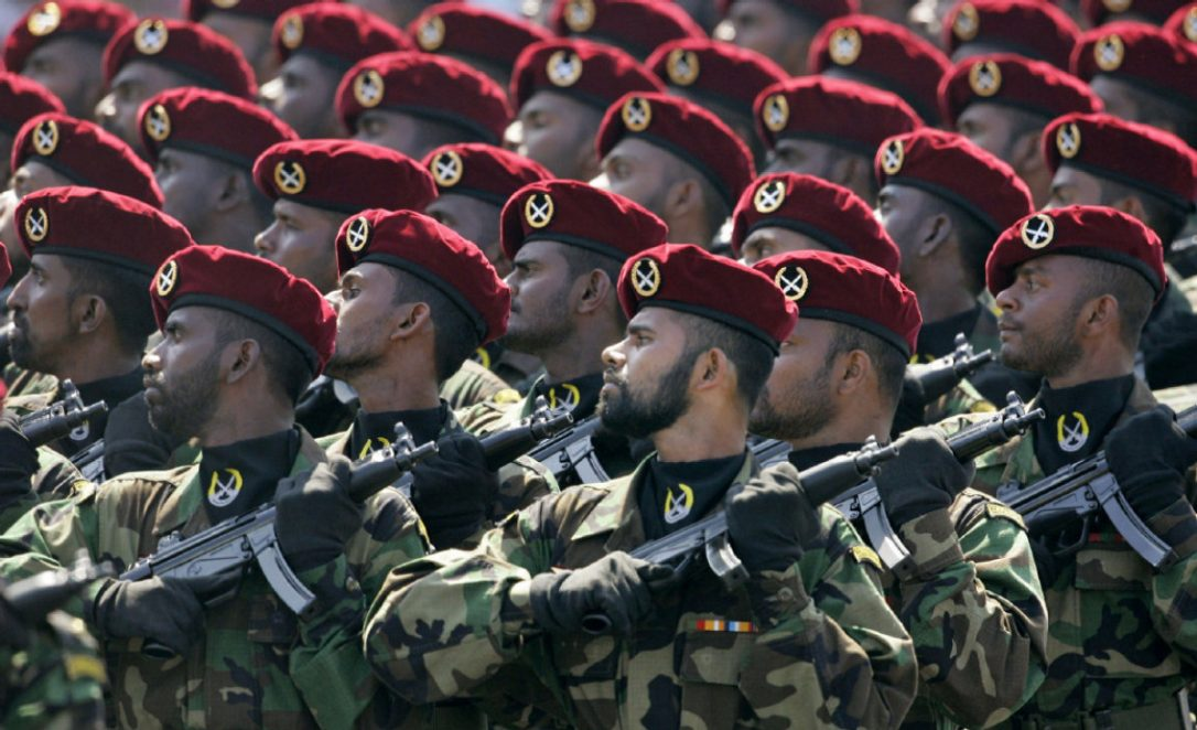 Sri Lankan army commandos march during an Independence Day celebration in Colombo.