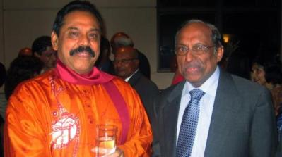 Sritharan Thillaiampalam, pictured with the Sri Lankan president Mahinda Rajapaksa , now thinks it might be wise to work with the government.